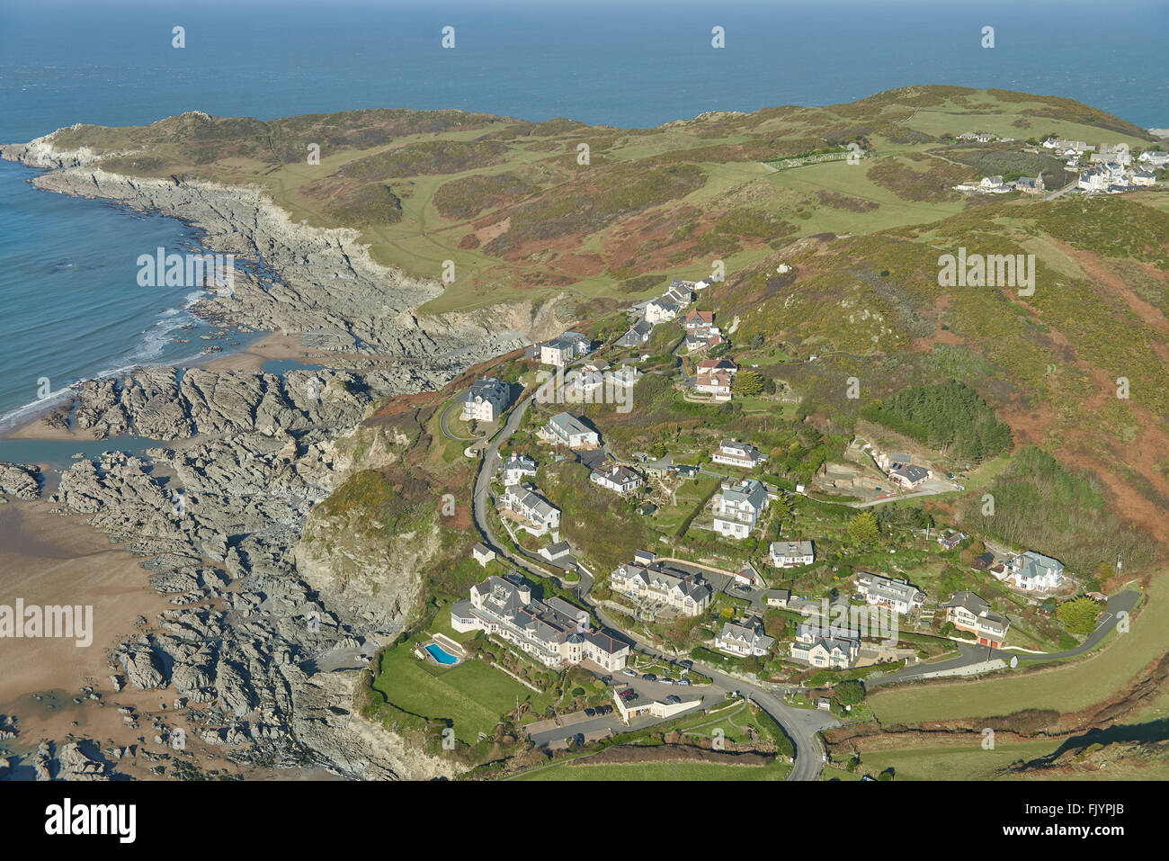 An aerial view of the North Devon seaside resort of Woolacombe Stock Photo