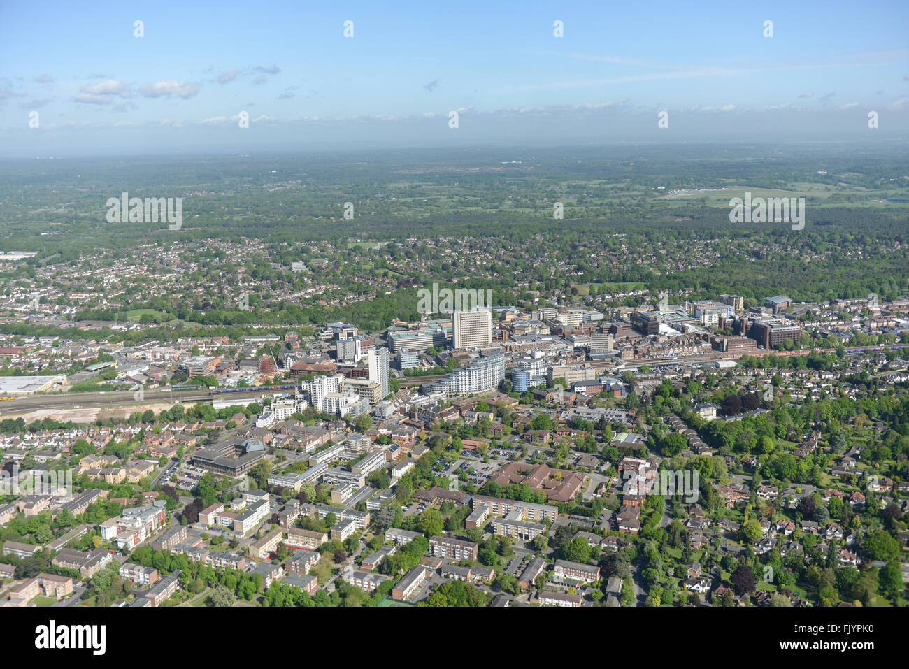 General aerial views of the Surrey town of Woking - Stock Image