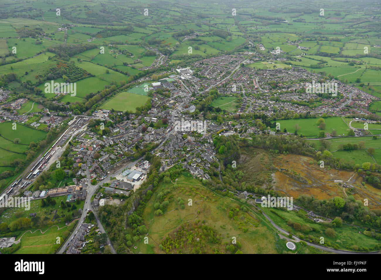 An aerial view of the Derbyshire town of Wirksworth - Stock Image