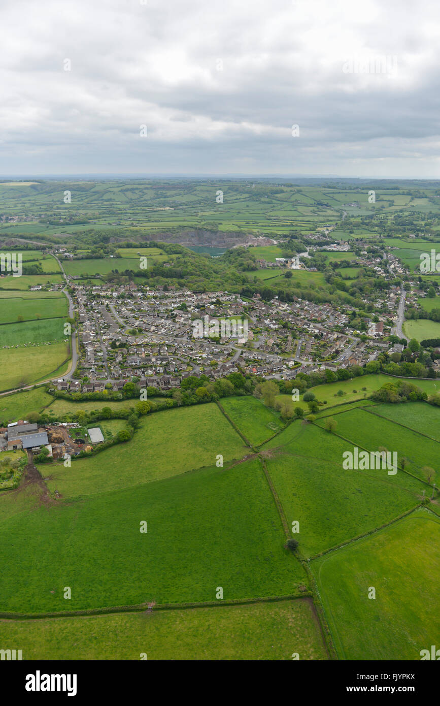 An aerial view of the Gloucestershire village of Wick - Stock Image