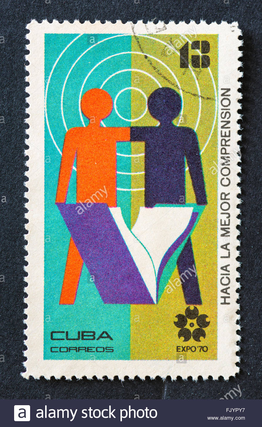 Serie Expo 70, toward a better understanding,Vintage Cuban postage stamp - Stock Image