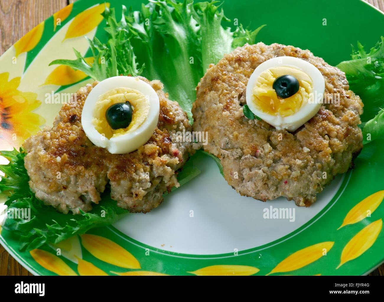 Spooky Eyeballs - Halloween party appetizer - Stock Image