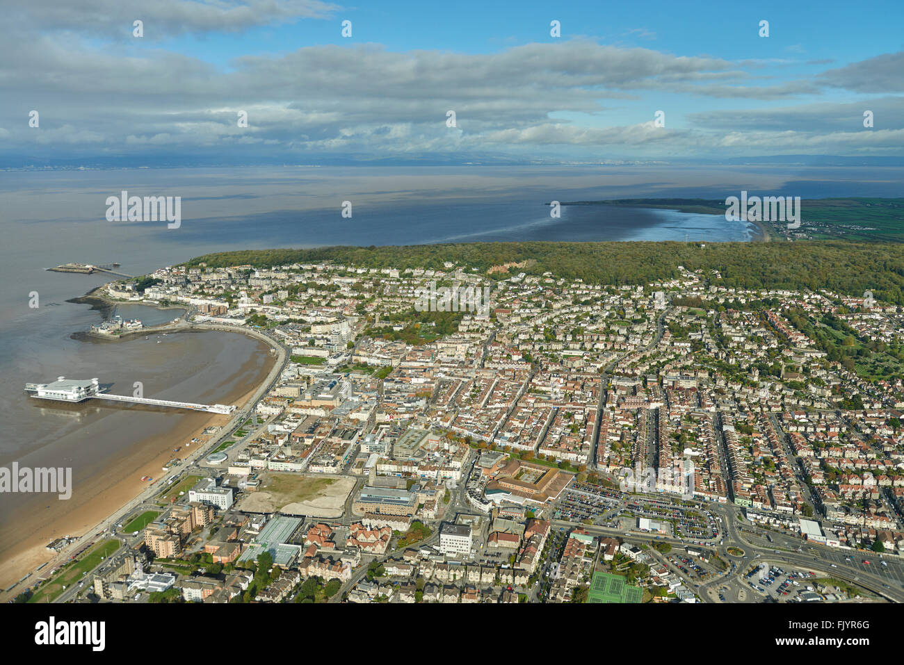 An aerial view of Weston Super Mare - Stock Image