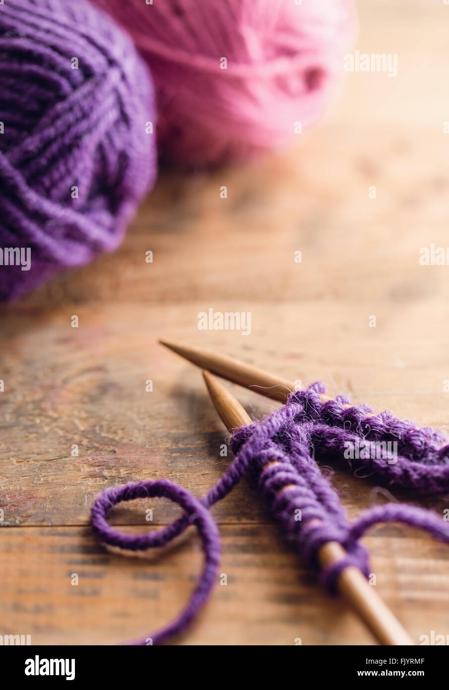 Knitting Set On Wooden Table - Stock Image