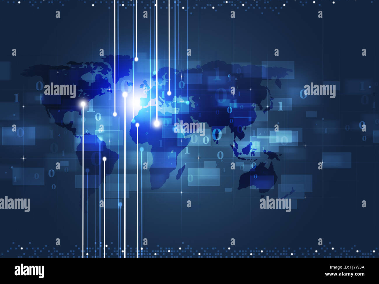 communication technology global concept blue business background - Stock Image