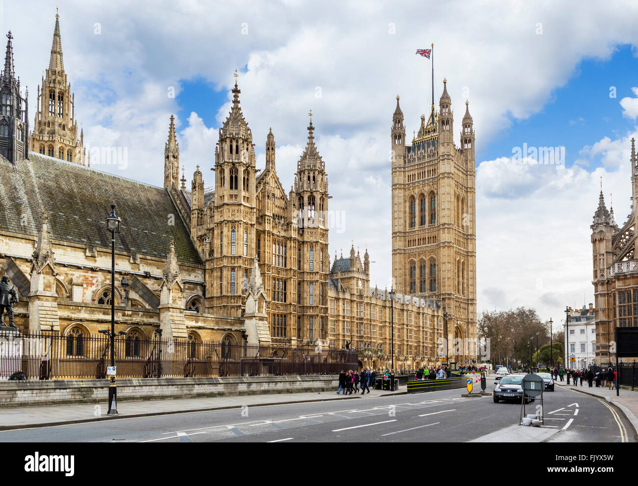 Palace of Westminster (Houses of Parliament) from Parliament Square, Westminster, London, England, UK Stock Photo