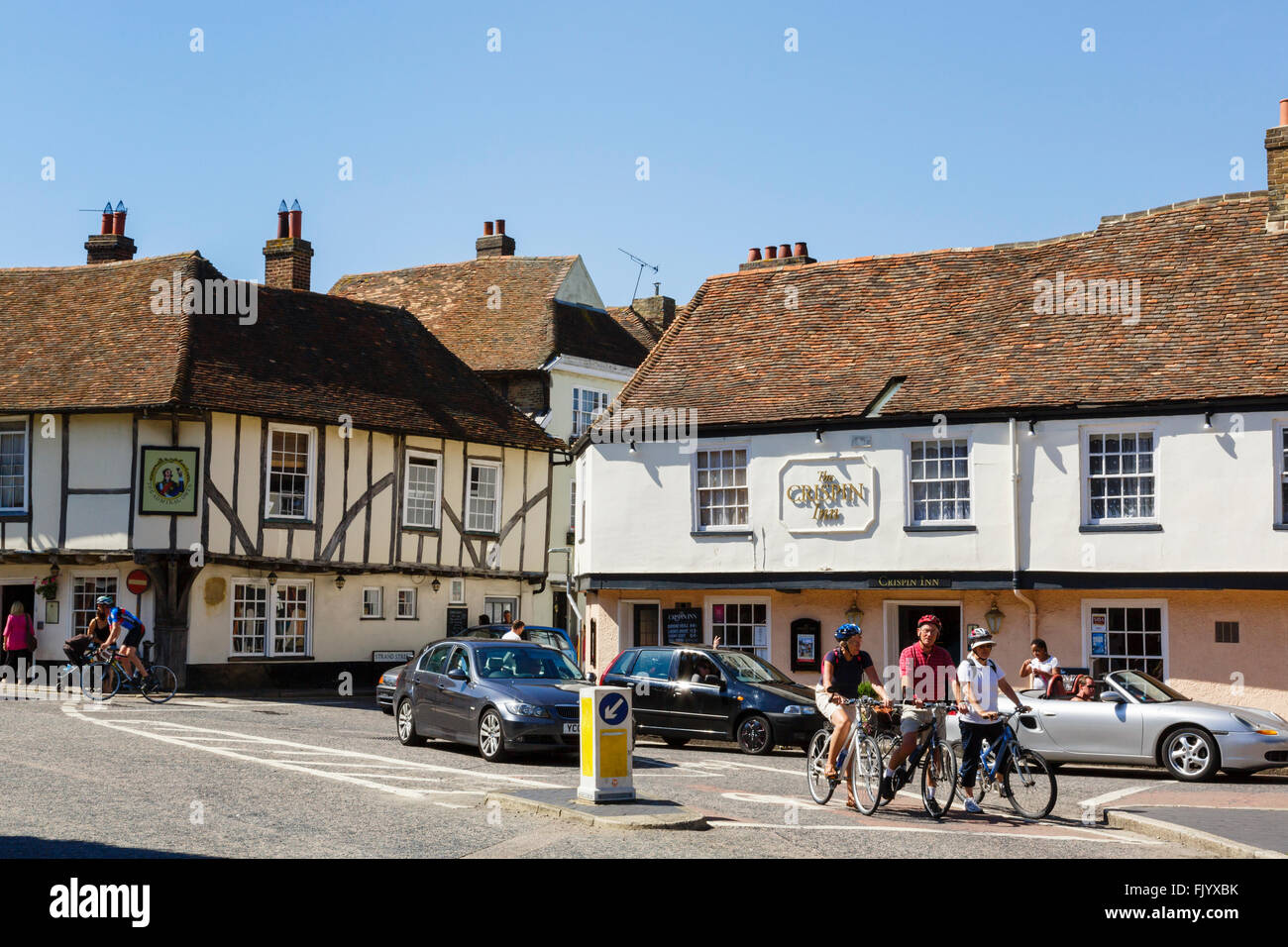 Street scene outside 15th century Admiral Owen pub and 16th century Crispin Inn in historic town of Sandwich Kent - Stock Image