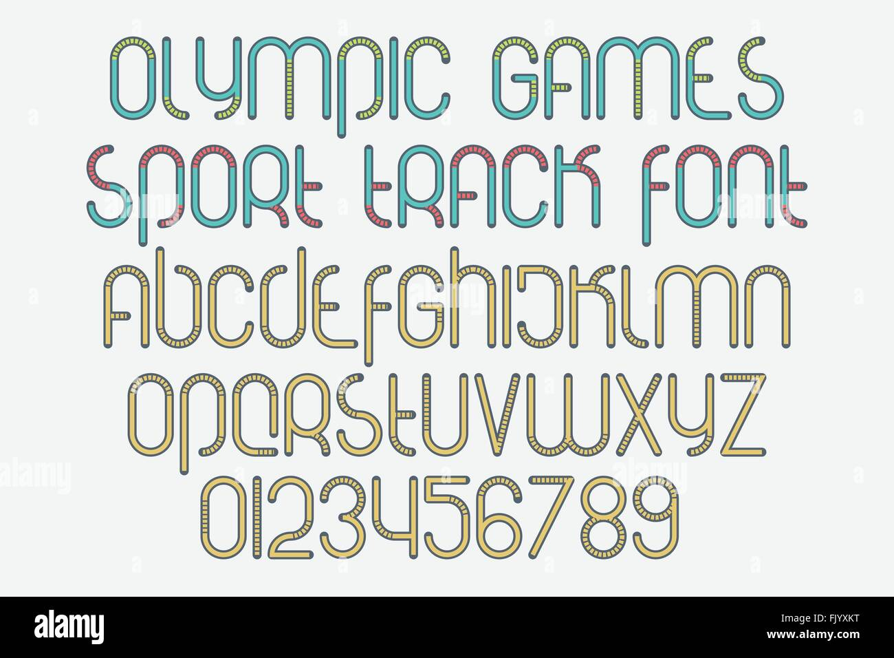 set of stylized alphabet letters and numbers isolated on white background. vector, dynamic style font type design. - Stock Vector