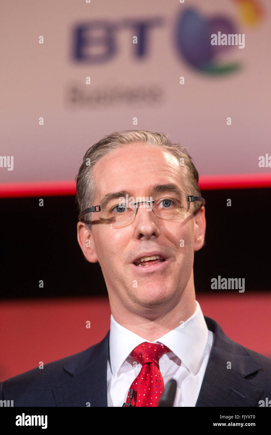 Colm O'Neill,Managing Director BT Corporate UK and Ireland, speaks at the British Chambers of Commerce conference - Stock Image