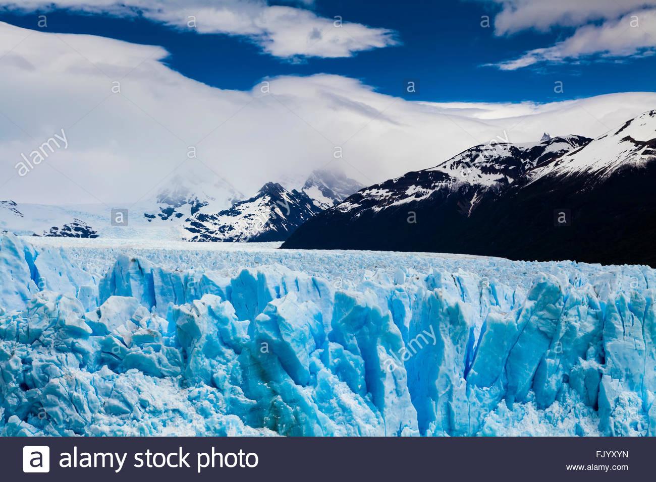 Blue ice Perito Moreno Glacier. Patagonia. Argentina. - Stock Image