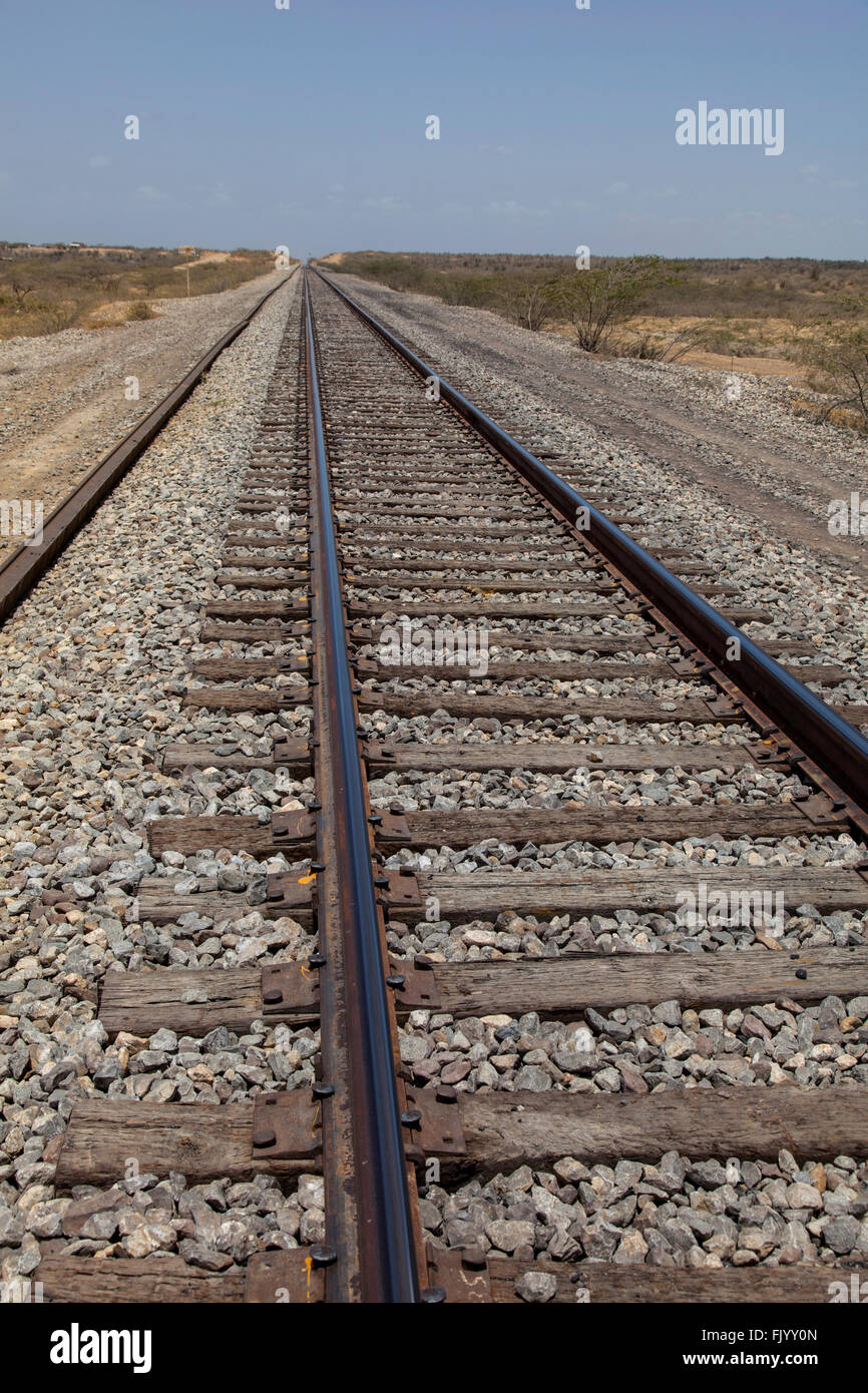 Vanishing point, railway tracks. - Stock Image