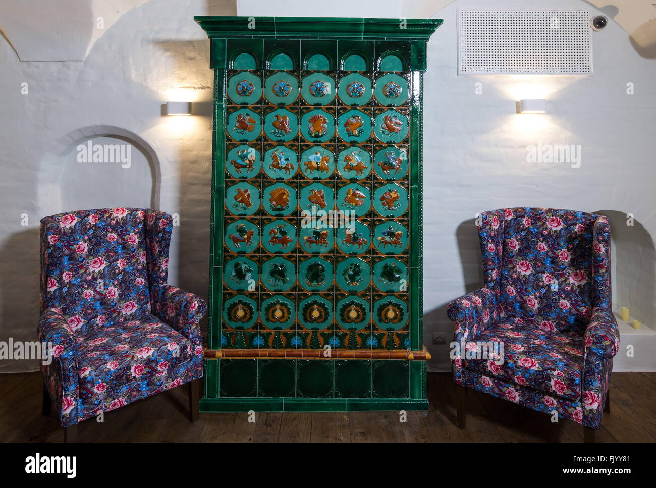 Moscow, Russia. 4th Mar, 2016. A tiled stove in the Aragvi restaurant at Tverskaya Street. The Aragvi restaurant - Stock Image