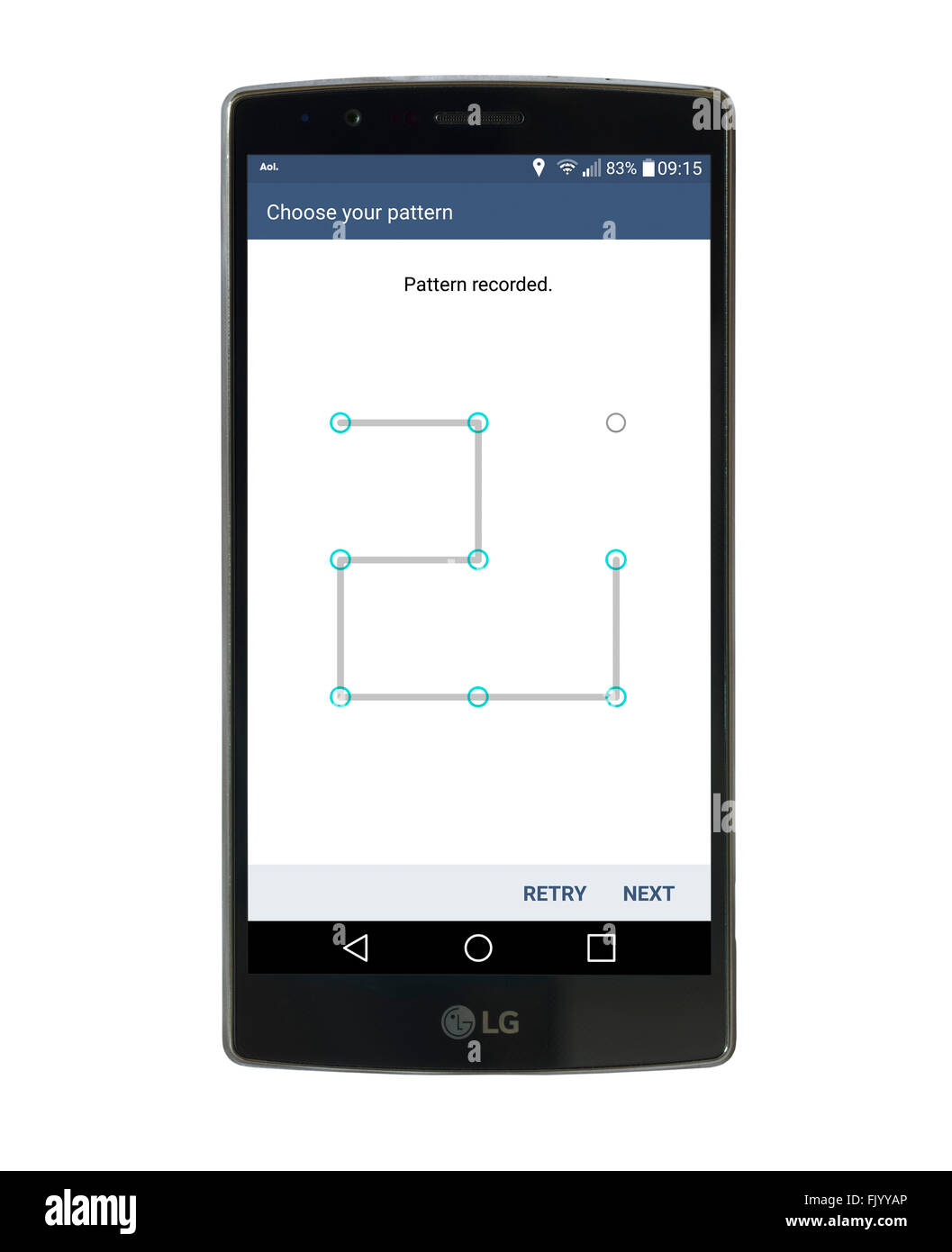 Using pattern recognition to lock the screen on an LG G4 5.5 inch Android smartphone running Android 6 Marshmallow - Stock Image