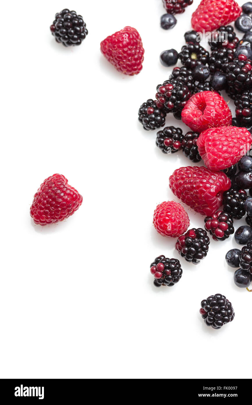 Fresh and delicious berries on white background Stock Photo