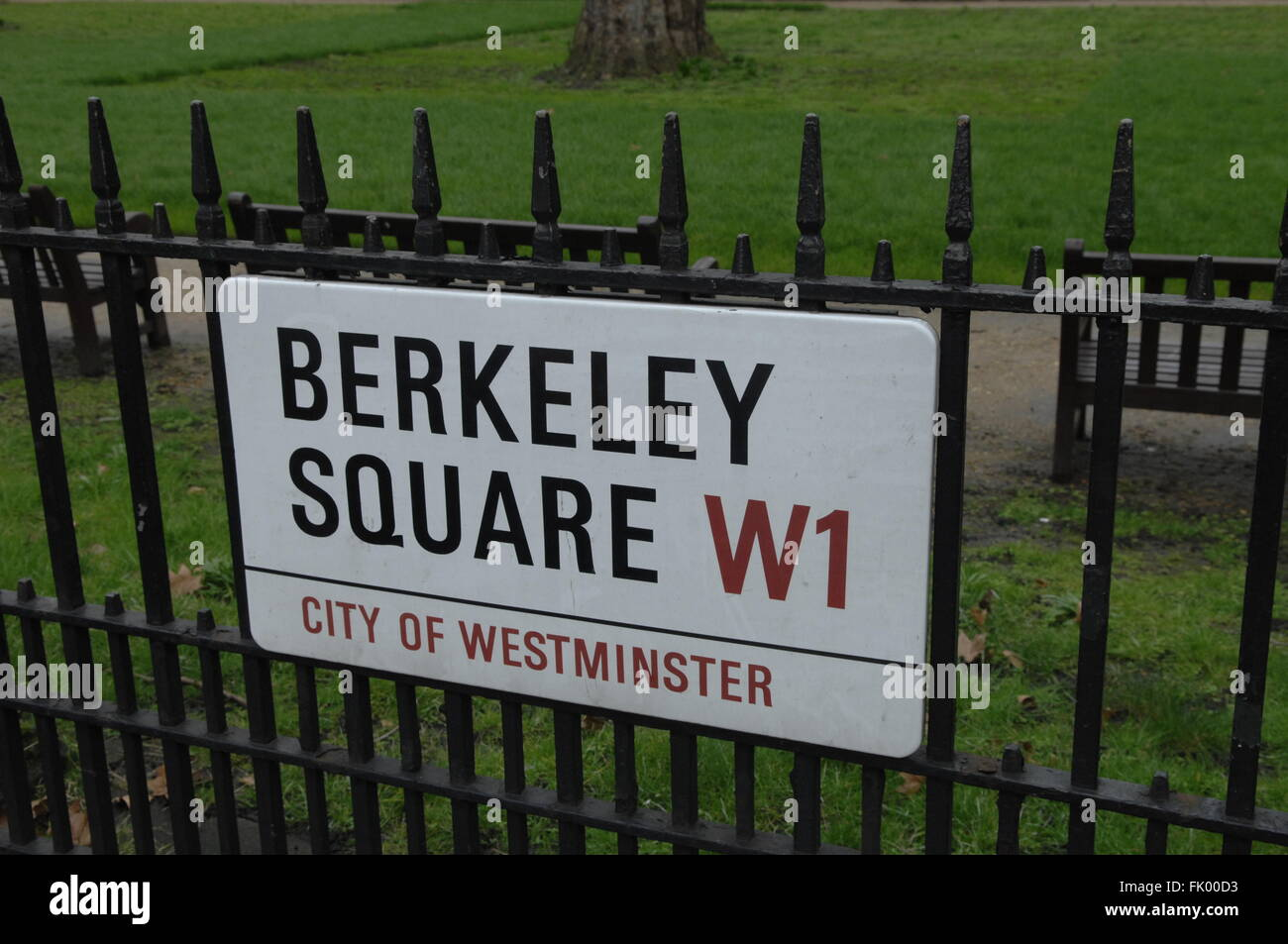 Berkeley Square Street Sign London W1 England - Stock Image
