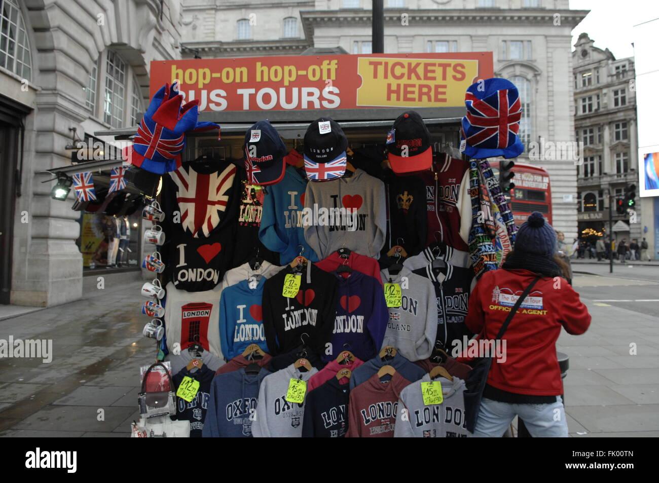 I Love London Tee-shirts seller,Piccadilly Circus,London,UK - Stock Image