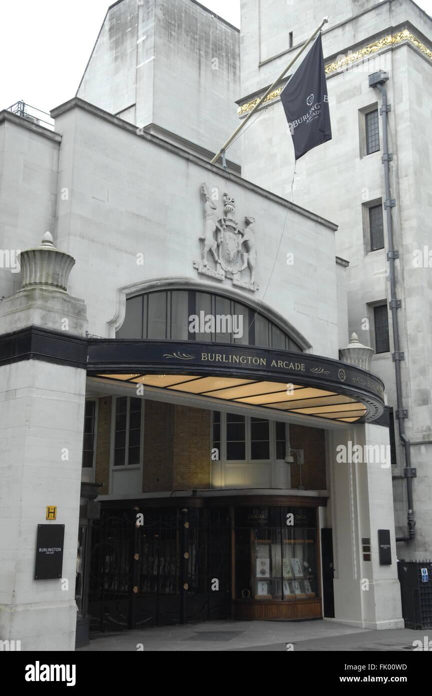 Burlington Arcade,Piccadilly,London,England. - Stock Image