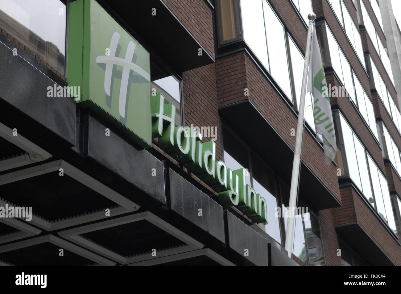 Holiday Inn hotel sign in Berkeley Street,London,W1 England - Stock Image