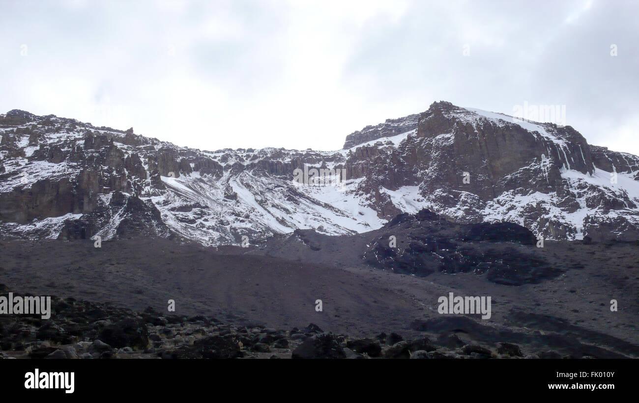 Snow capped Mount Kilimanjaro - Stock Image