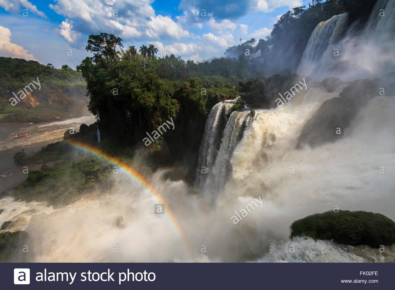 Amazing view of the Iguazu Falls and rainbow. Argentina. - Stock Image