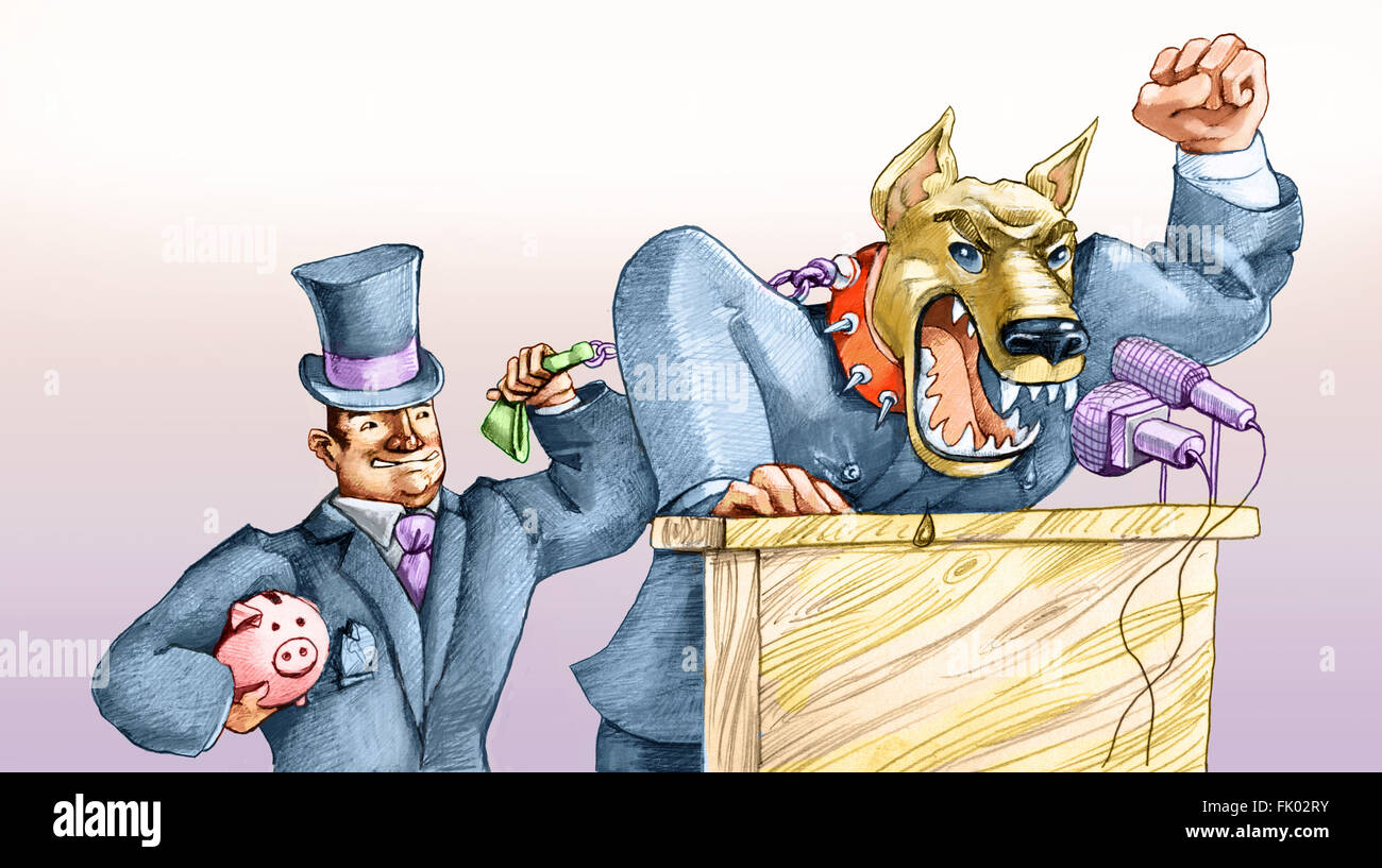 A political growls like a dog on a leash by a capitalist moneybags - Stock Image