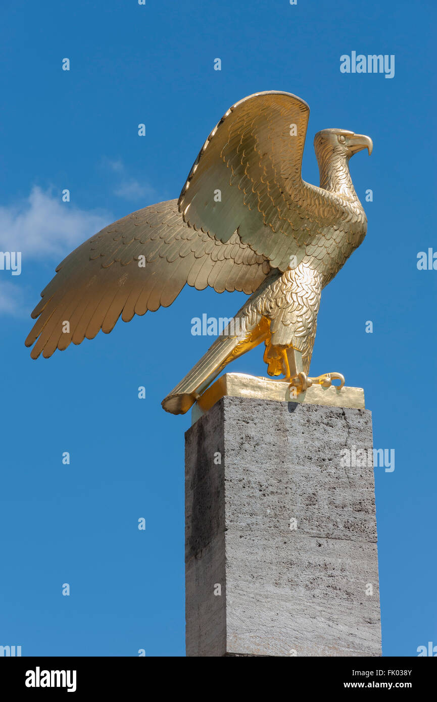 Eagle stele, 1936, by Waldemar Raemisch, in front of the Haus des Deutschen Sports, Reichssportfeld, now Olympic - Stock Image