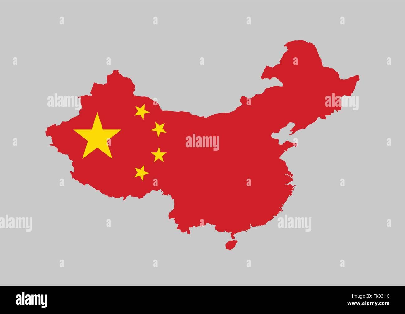 China flag map - Stock Image