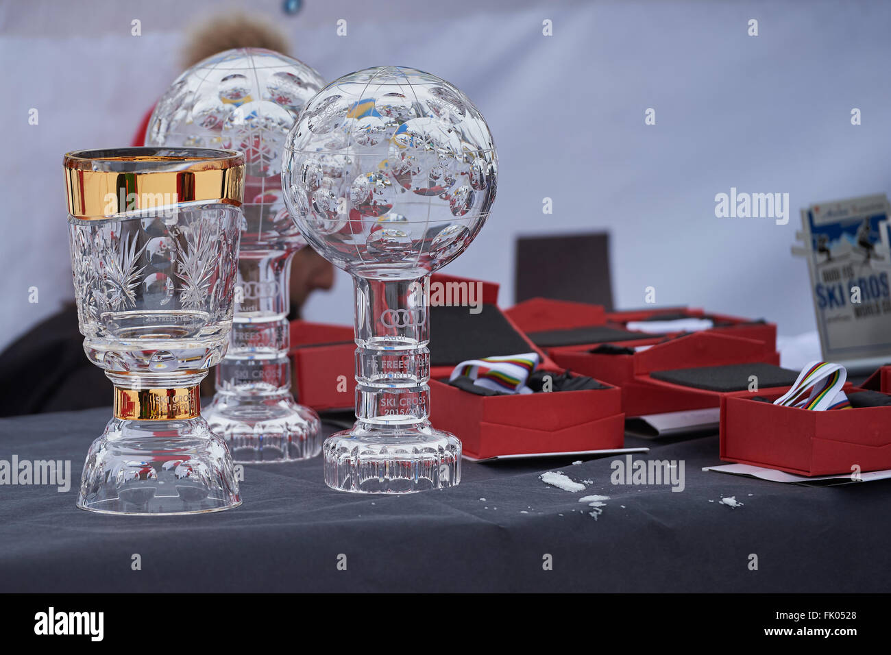 Arosa, Switzerland. 4th March, 2016. The FIS Crystal globes and Medals are ready for the World Cup winners at the - Stock Image