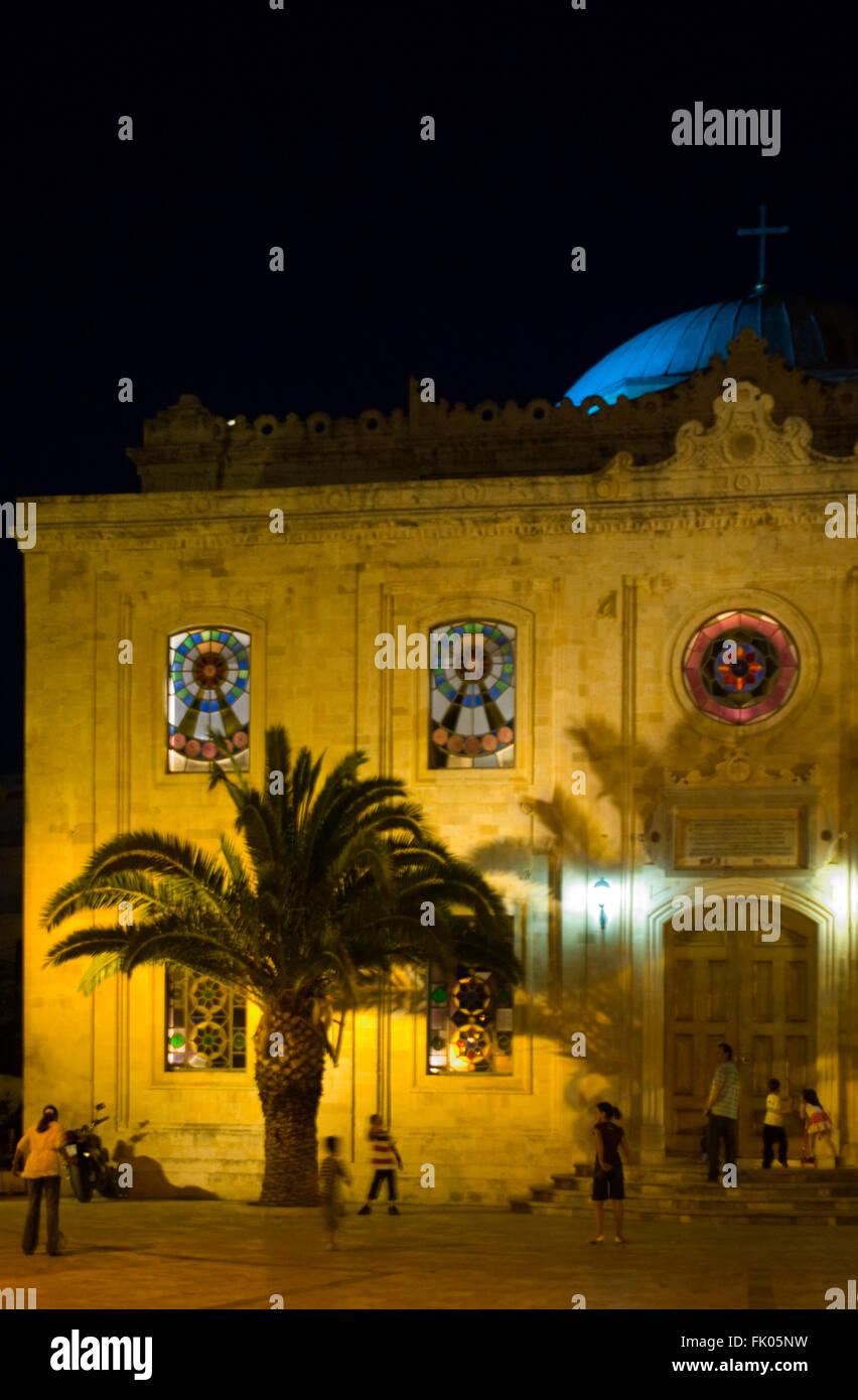 Griechenland, Kreta, Heraklion, beleuchtete Kirche Agia Titou ( Tituskirche ) - Stock Image