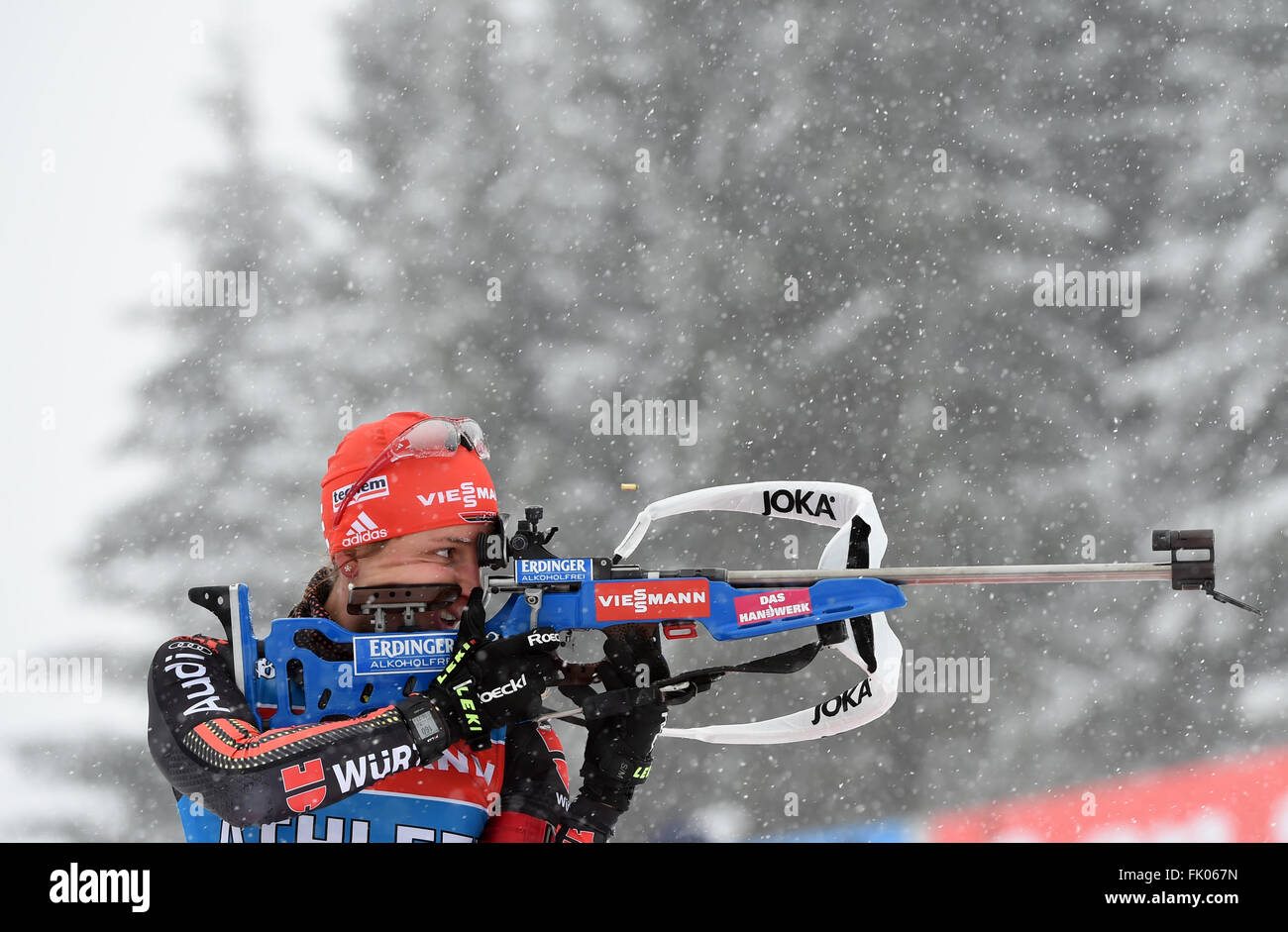 Female Biathlete Vanessa Hinz of Germany in action during a training session at the Biathlon World Championships, - Stock Image