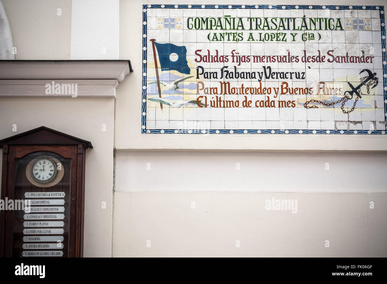 Old ceramic sign transcontinental travel ship,Santander, Cantabria, Spain. - Stock Image