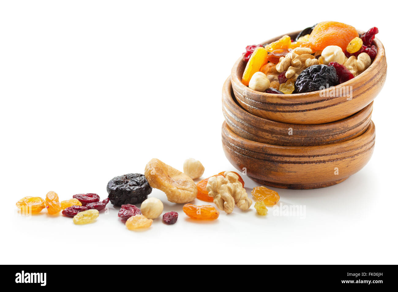 Assorted dried fruits and nuts - Stock Image