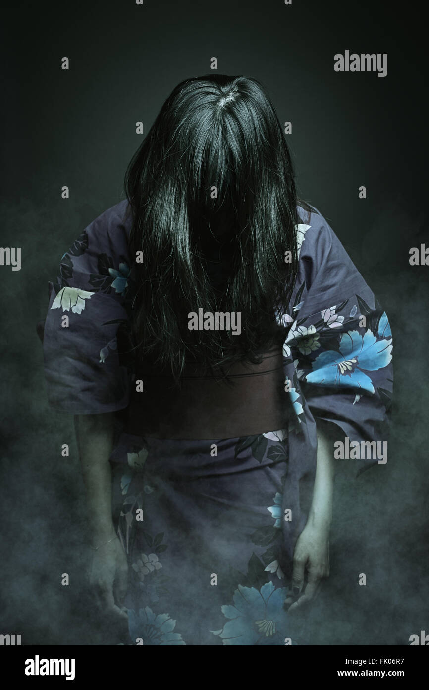 Japanese ghost in kimono dress . Horror and halloween - Stock Image