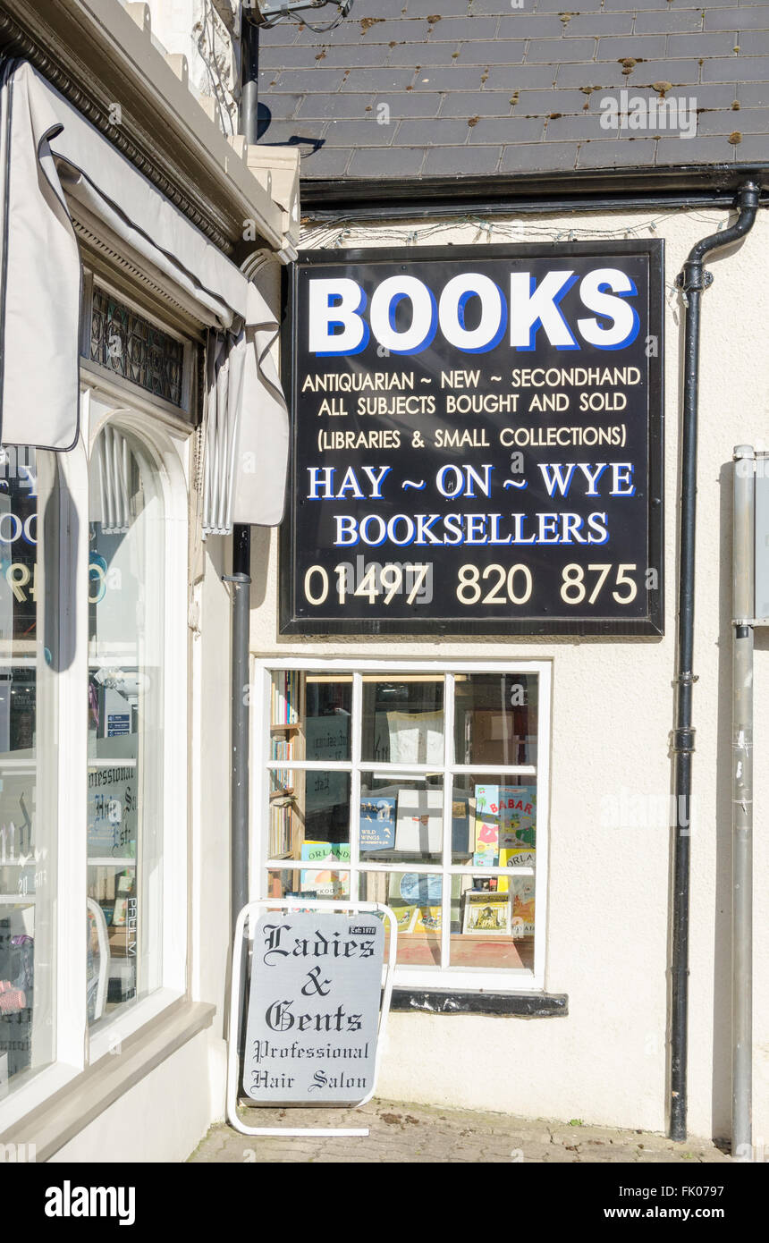 Large wall sign for Hay-on-Wye Booksellers - Stock Image