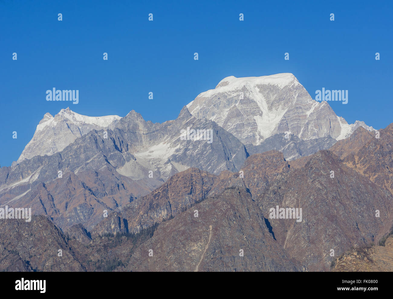 Hathi and Ghori Parwat snow clad peak in Indian Himalaya - Stock Image