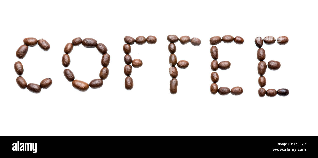 """word """"coffee"""" made from coffee beans isolated on white Stock Photo"""