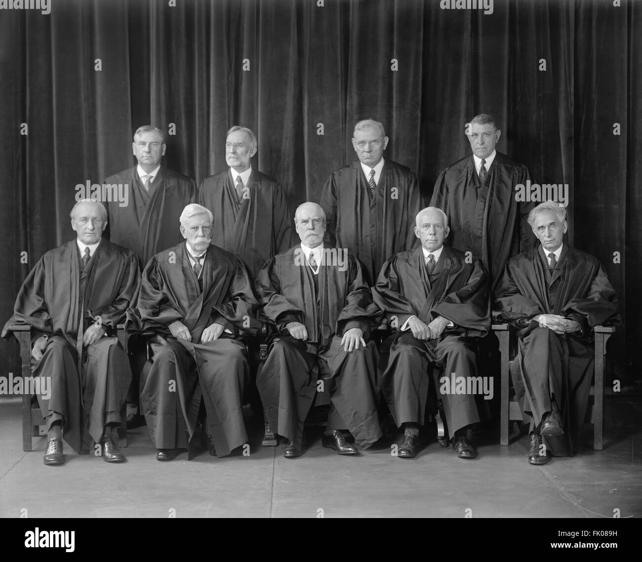 U.S. Supreme Court Justices with Chief  Justice Charles Evans Hughes (bottom row, center), Washington DC, USA, circa - Stock Image