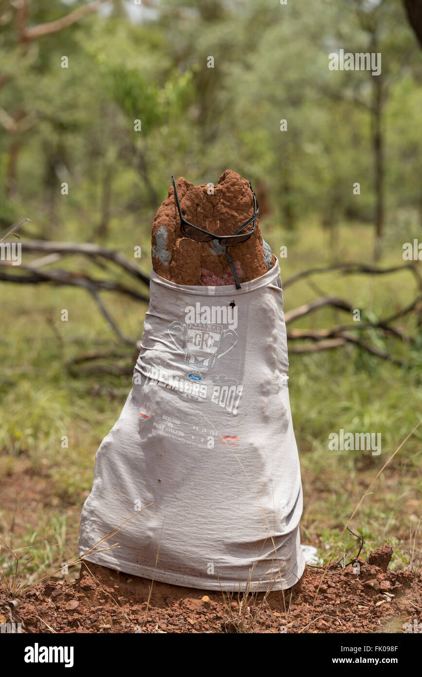 Termite mound dressed in t-shirt and shades in the Northern Territory. - Stock Image