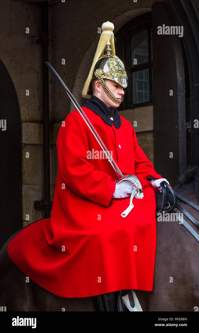 Life Guard on duty outside Horse Guards Parade on Whitehall, Westminster, London, England, UK - Stock Image