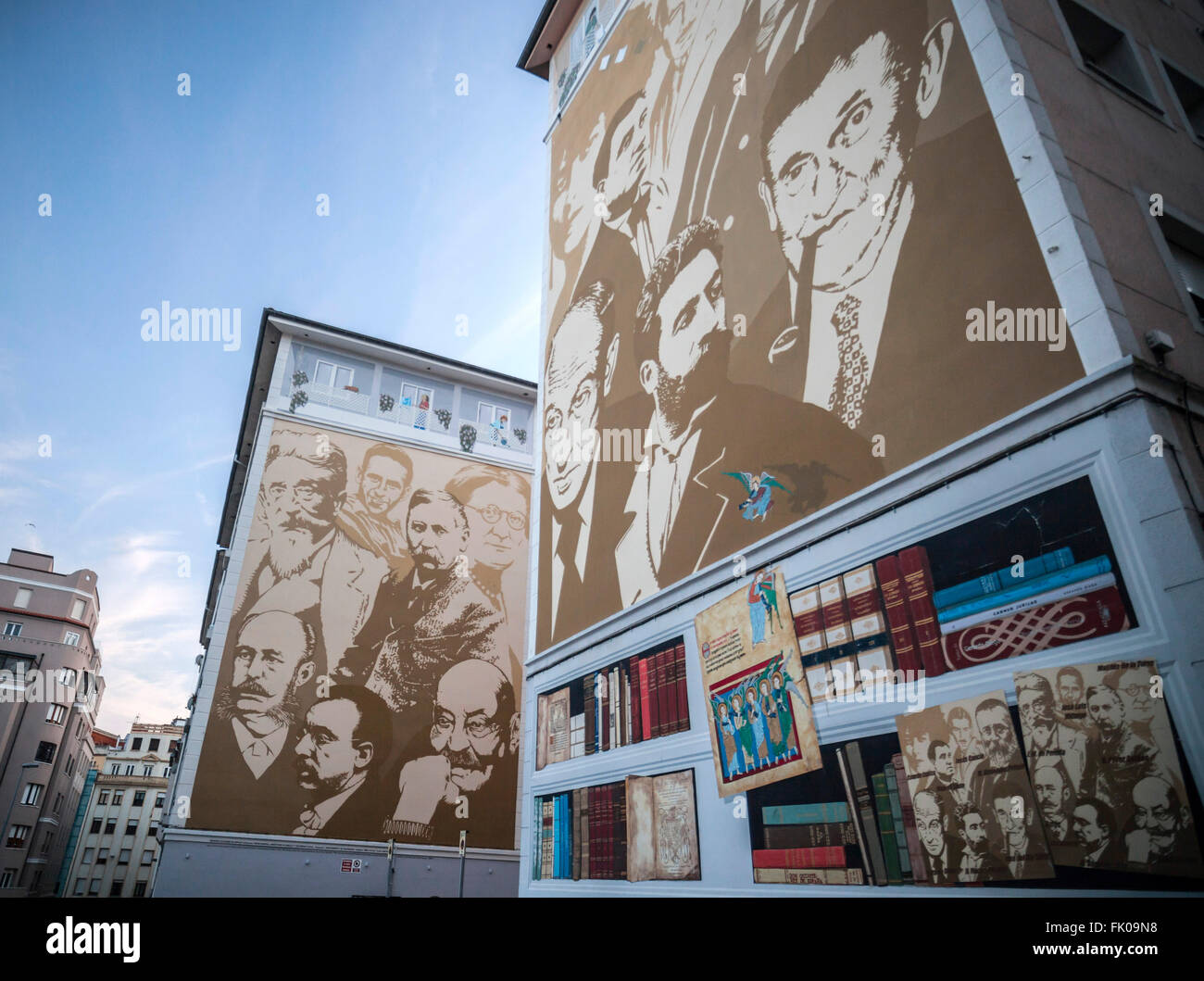 Painted walls with famous writers.Santander. - Stock Image