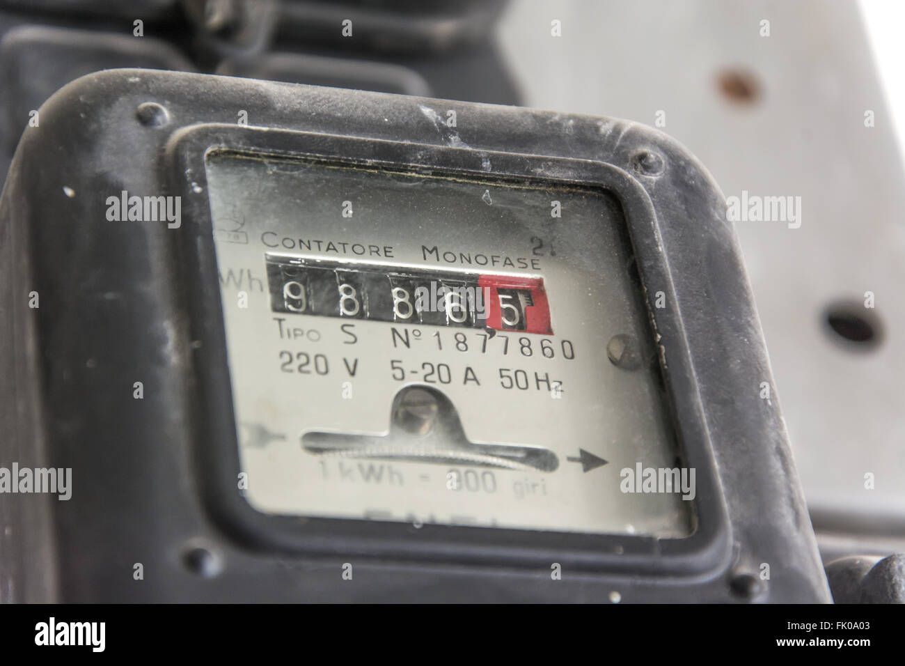 vintage electric single phase counter activated in 1959 - Stock Image