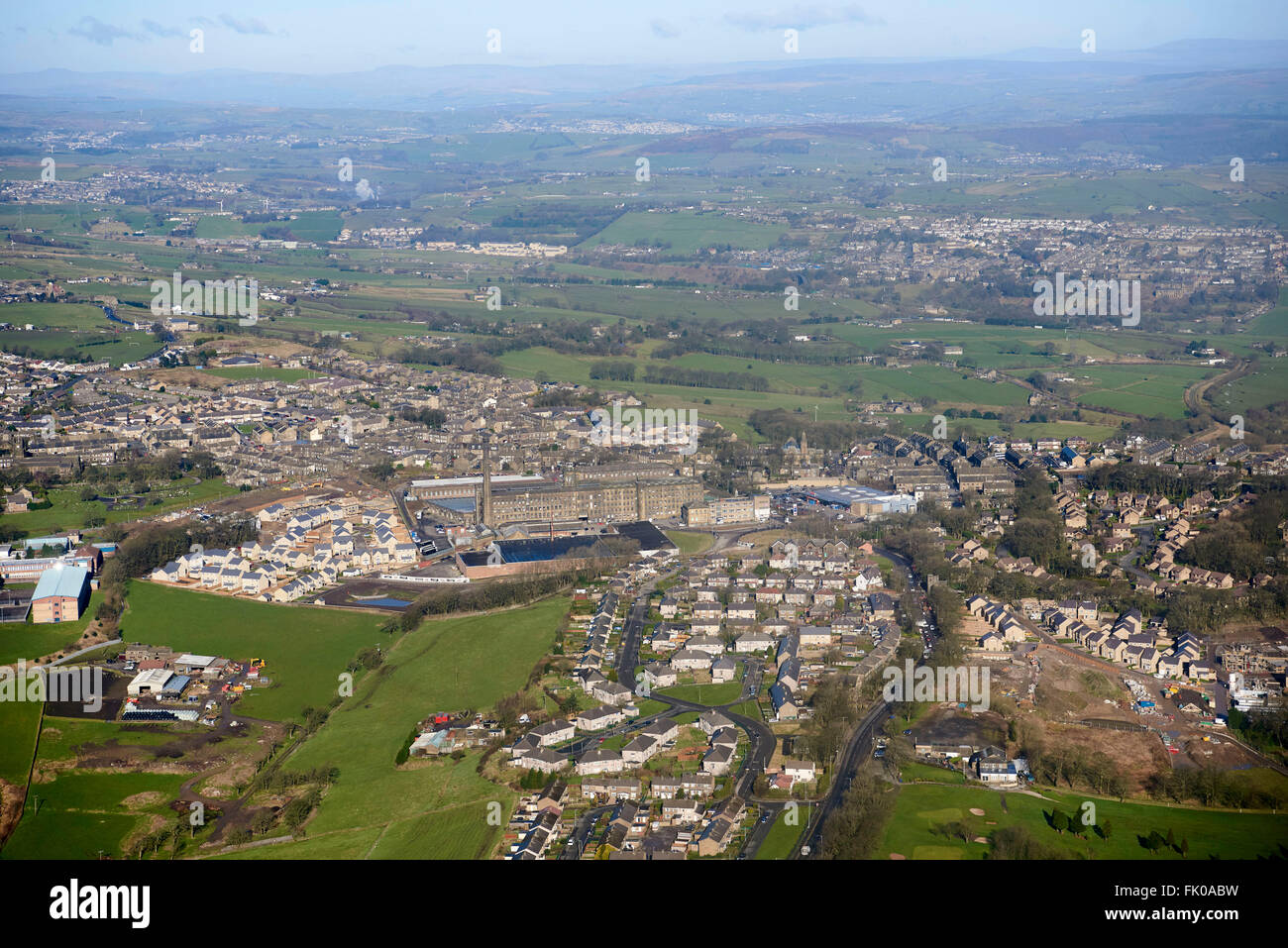 Denholme, home of the Black Dyke Mills Band, the mill dominant centre, West Yorkshire, Northern England - Stock Image