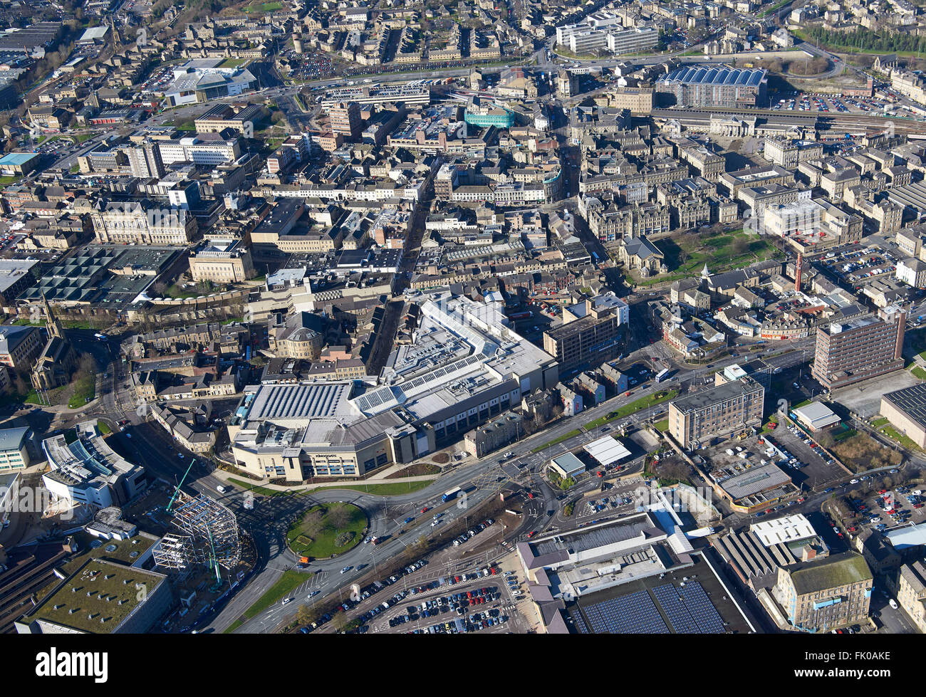 An aerial view of Huddersfield Town Centre, West Yorkshire, Northern England, UK - Stock Image