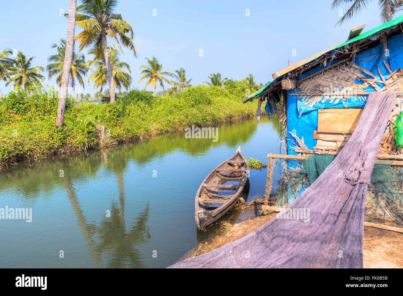 fisherman's hut in Kochi, Kerala, India, Asia - Stock Image