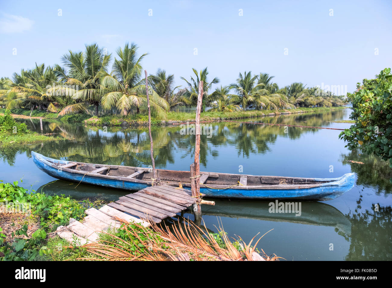 wooden boat in the backwaters of Kochin, Kerala, India, Asia - Stock Image