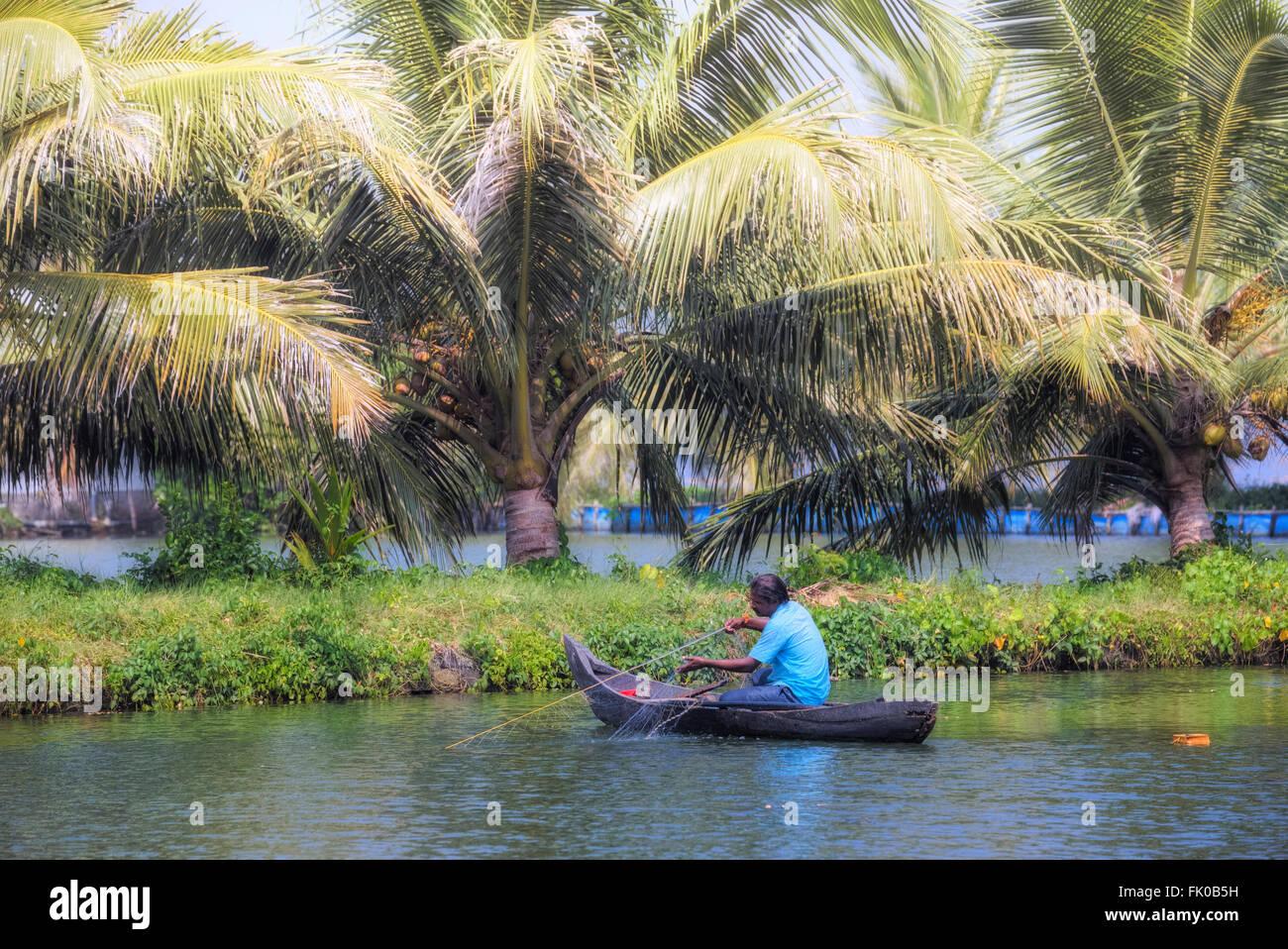 fisherman in Kochi, Kerala, India, Asia - Stock Image