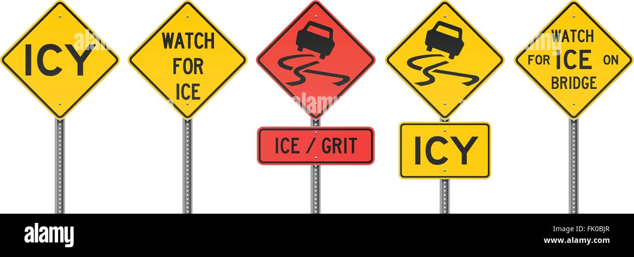 Icy Road Signs - Stock Vector