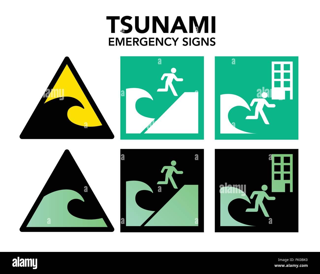 Tsunami evacuation signs - Stock Vector