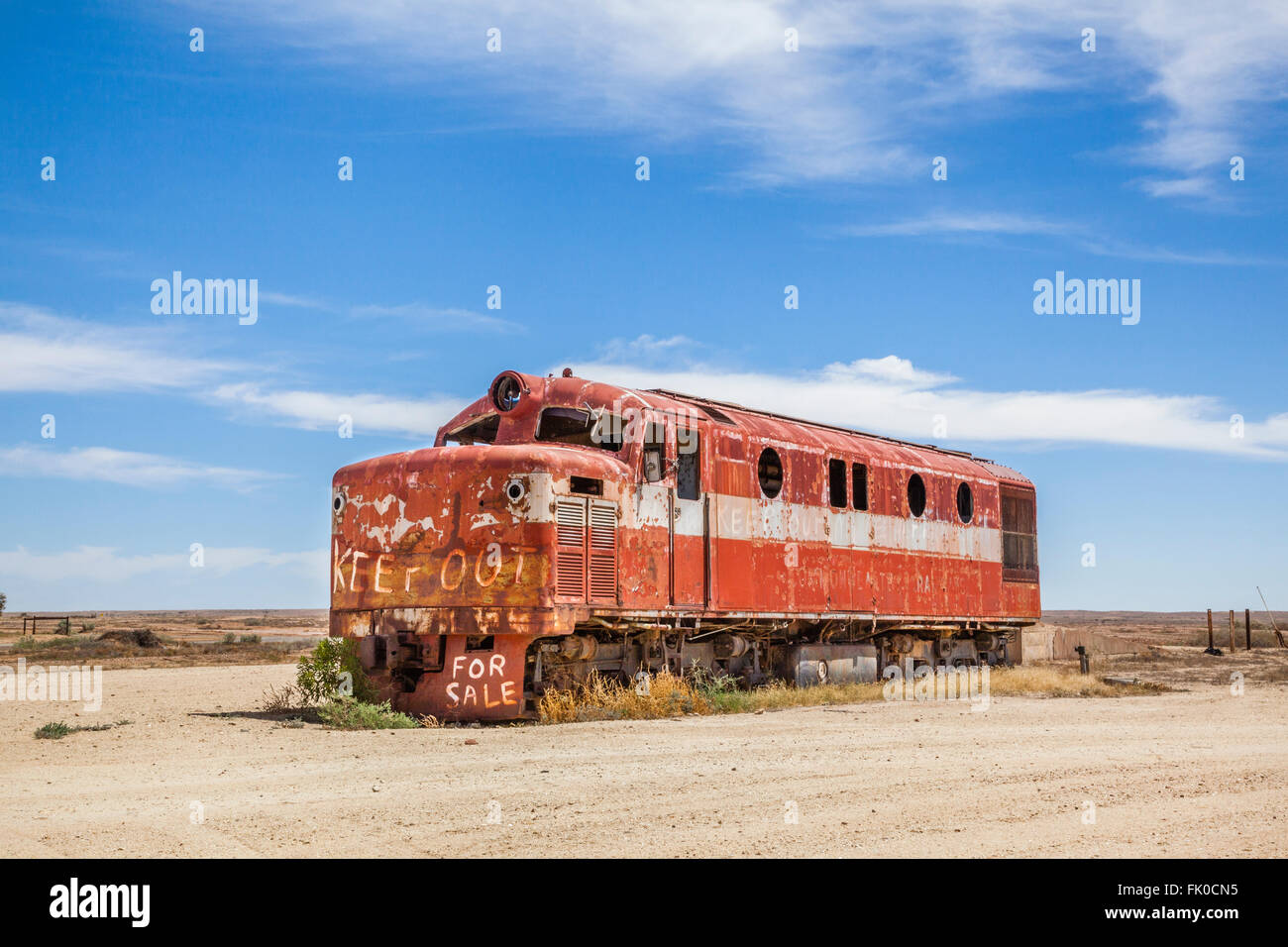 old Ghan locomotive at Marree station, South Australia. The Old Ghan railway line was closed in the 1980s - Stock Image