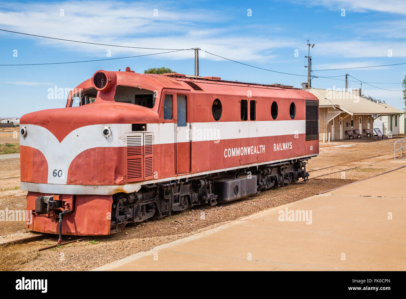 old Ghan locomotive at Marree station, South Australia. The Old Ghan railway line was closed in the 1980s Stock Photo